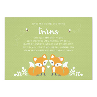 Twin Foxes Baby Shower Party Invitation