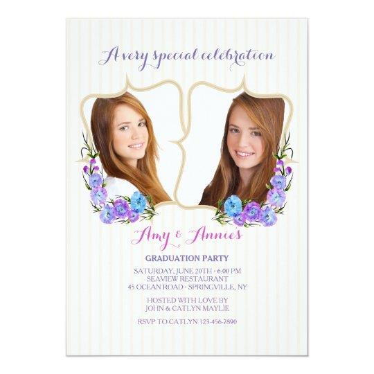 Twin Frame Photo Graduation Invitation