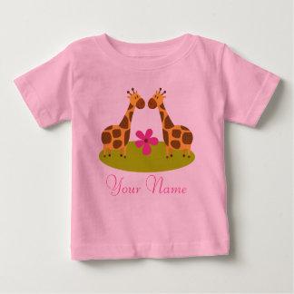 Twin Giraffe Personalized Girls Baby T-Shirt