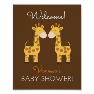 Twin Giraffes Twins Baby Shower Sign Poster