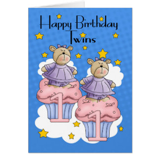 Twin Girl 1st Birthday Card, With Cupcake Bears Card