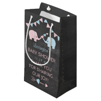 Twin Girl and Boy Elephants Baby Shower Thank You Small Gift Bag