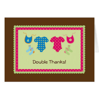 Twin Girl and Boy Thank You Card