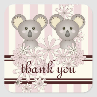 Twin Girl Baby Shower / Birthday Thank You Pink Square Sticker