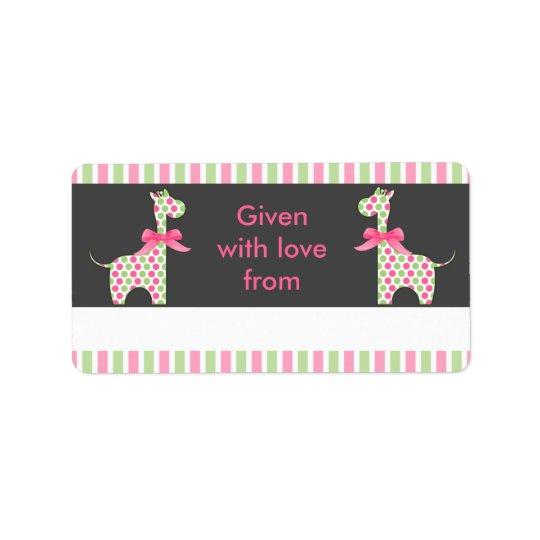 Twin Girl Giraffe Bookplate V2 Label