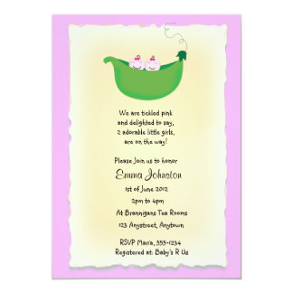 Twin Girl Peas in a Pod baby shower invite