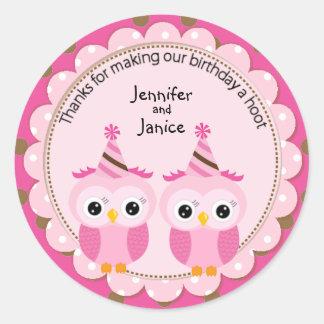 Twin Girl Pink Owls Birthday Thank You Round Sticker