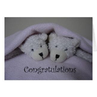 Twin girl teddy bears greeting card