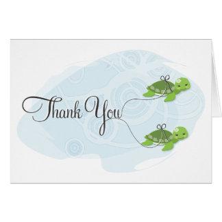 Twin Girl Turtles Thank You Card