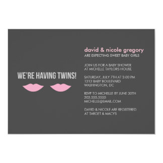"Twin Girls Baby Shower 5"" X 7"" Invitation Card"