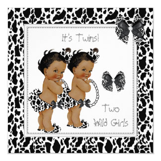 """Twin Girls Baby Shower Cow Print Ethnic 5.25"""" Square Invitation Card"""