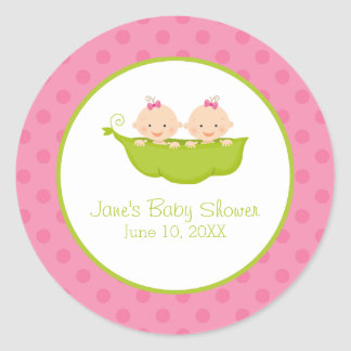 Twin Girls Baby Shower, Two Peas in a Pod Classic Round Sticker