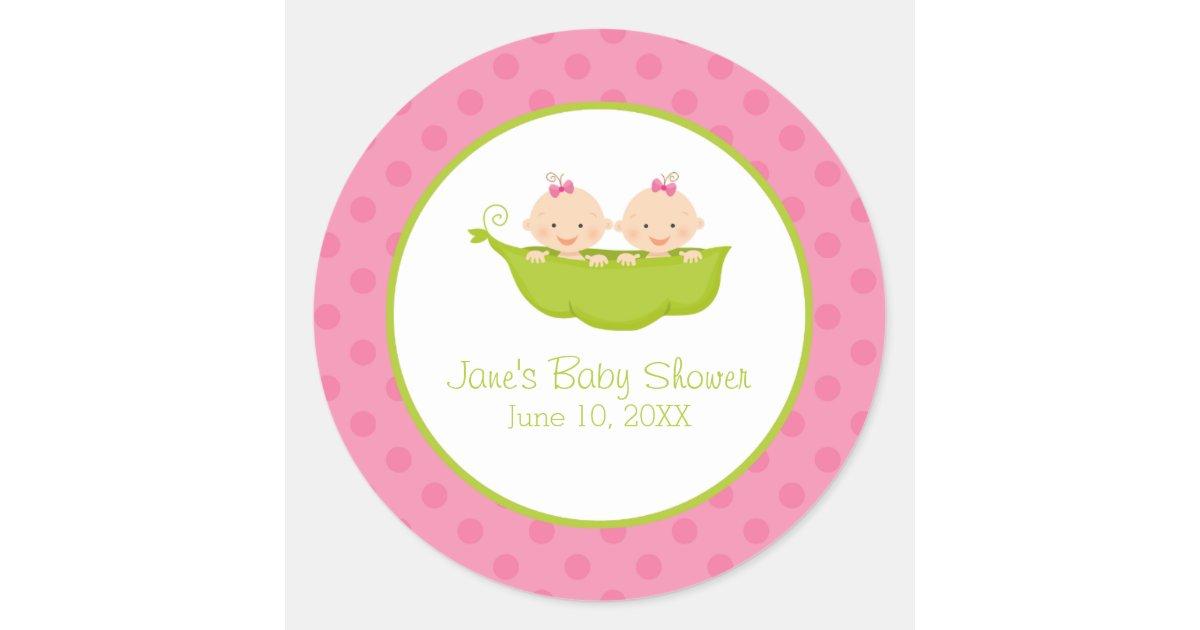 Twin Girls Baby Shower, Two Peas in a Pod Round Sticker ...