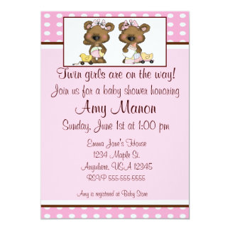 Twin girls bears personalized baby shower invites