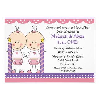 Twin Girls First Birthday Invitation