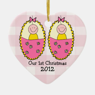 Twin Girls First Christmas Pink Ceramic Heart Ornament