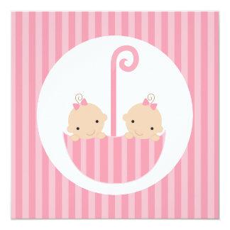 Twin Girls in Pink Umbrella Card