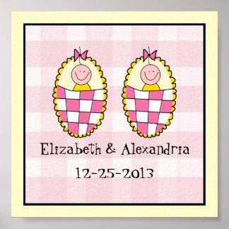 Twin Girls Keepsake Gift Poster