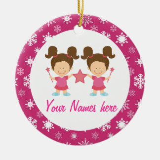 Twin Girls Pink Christmas Keepsake Gift Ceramic Ornament
