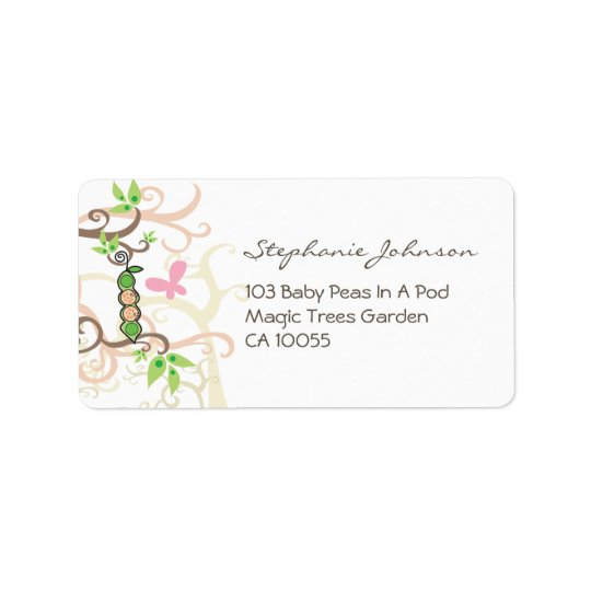 Twin Girls Pink Peas In A Pod Baby Address Labels