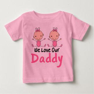Twin Girls Pink Stick Figure Babies T-shirts