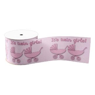 twin girls polka dots baby stroller - ribbon grosgrain ribbon