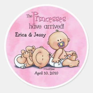 Twin Girls - Princesses Round Sticker