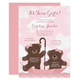 Twin Girls Teddy Bear Baby Shower Invitation