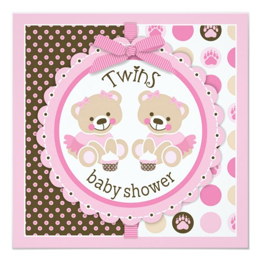 Twin Girls Teddy Bears Tutus Baby Shower Card