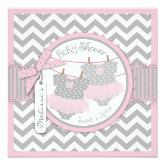 "Twin Girls Tutus Chevron Print Baby Shower 5.25"" Square Invitation Card"