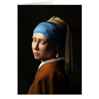 TWIN GIRLS WITH A PEARL EARRING 3D Computer ART C Card