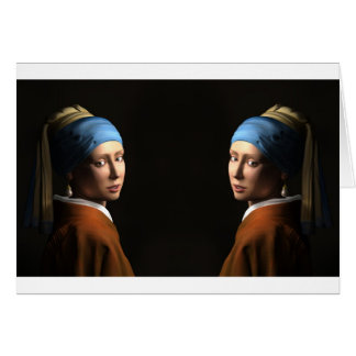 TWIN GIRLS WITH A PEARL EARRING GREETING CARD