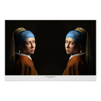 TWIN GIRLS WITH A PEARL EARRING POSTER