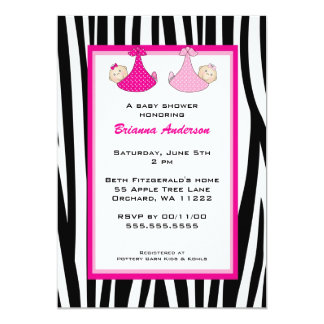 "Twin Girls Zebra Hot Pink baby shower invitation 5"" X 7"" Invitation Card"