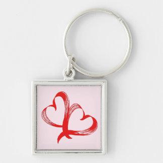 Twin Hearts Valentine Pink Keychain