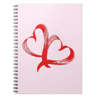 Twin Hearts Valentine Pink Notebooks