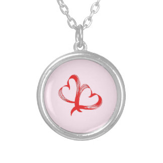 Twin Hearts Valentine Pink Silver Plated Necklace