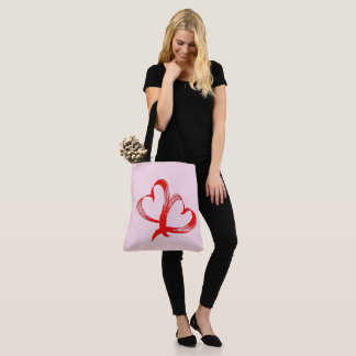 Twin Hearts Valentine Pink Tote Bag