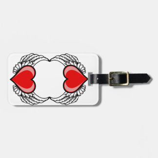 twin hearts with wings luggage tag