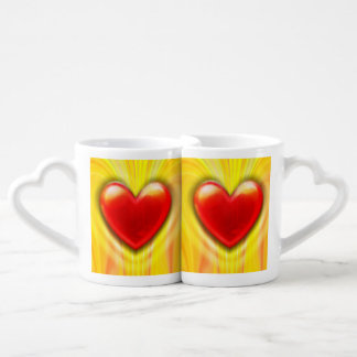 Twin Lava Love red hearts Lover's Mugs