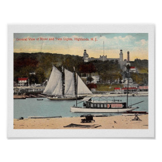 Twin Lights, Highlands, NJ Vintage Poster