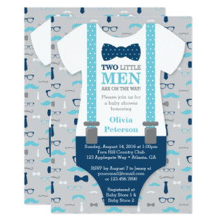 twin little men baby shower invitation blue gray card