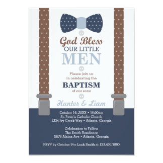 Twin Little Men Baptism Invitation, Blue, Brown Card