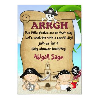 Twin Little Pirates Baby Shower Invitation ~ Boys
