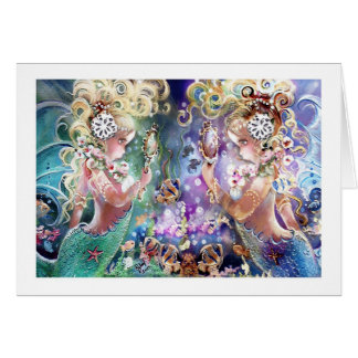 Twin Mermaids Note Card