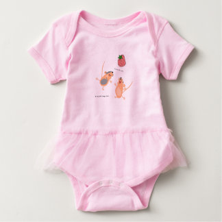 Twin Mice Catching a Strawberry Baby Bodysuit