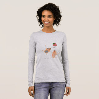 Twin Mice Catching a Strawberry Long Sleeve T-Shirt