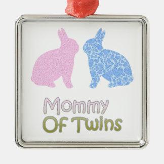 Twin Mommy Silver-Colored Square Ornament
