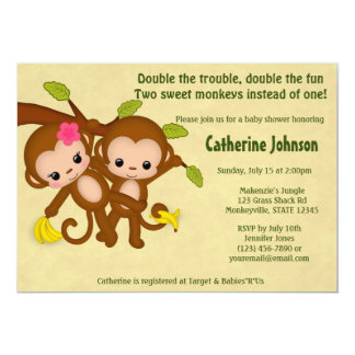 "TWIN Monkeys Baby Shower Invitations BOY GIRL 5"" X 7"" Invitation Card"