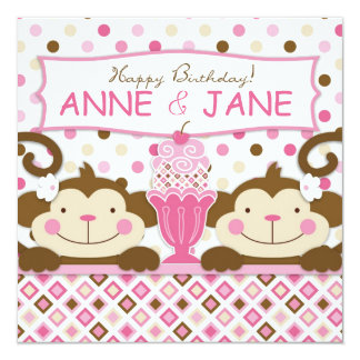 Twin Monkeys & Ice Cream Sundae Birthday Card